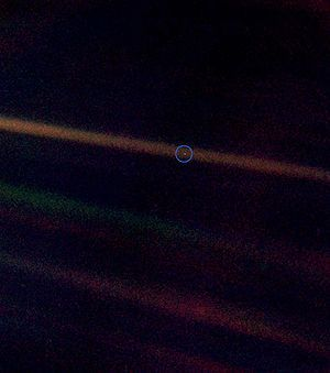 The Pale Blue Dot is a photograph of planet Earth taken in 1990 by the Voyager 1 spacecraft from a record distance of about 6 billion kilometers (3.7 billion miles) from Earth,