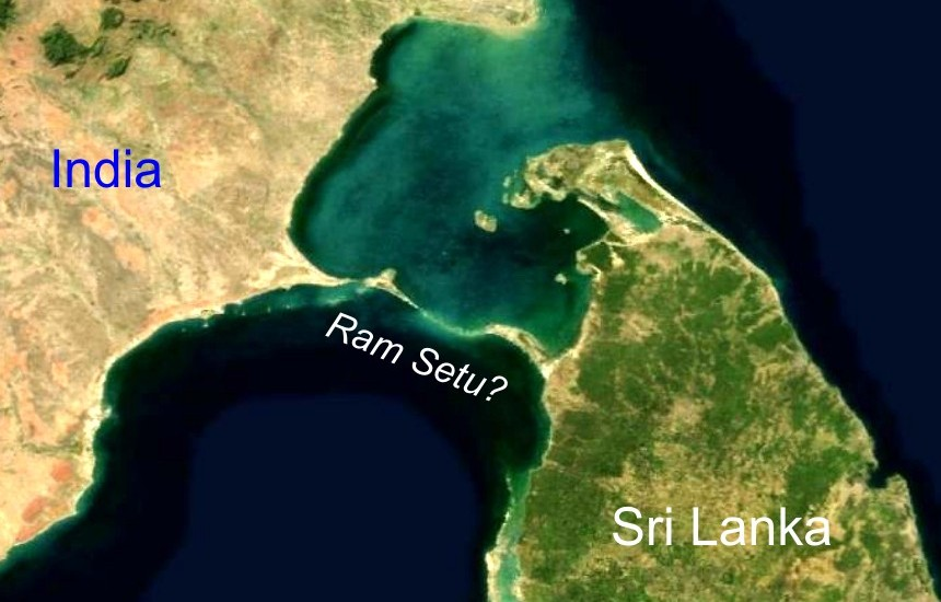 a picture taken by NASA -The NASA Shuttle has imaged a mysterious ancient bridge between India and Sri Lanka, as mentioned in the Ramayana.