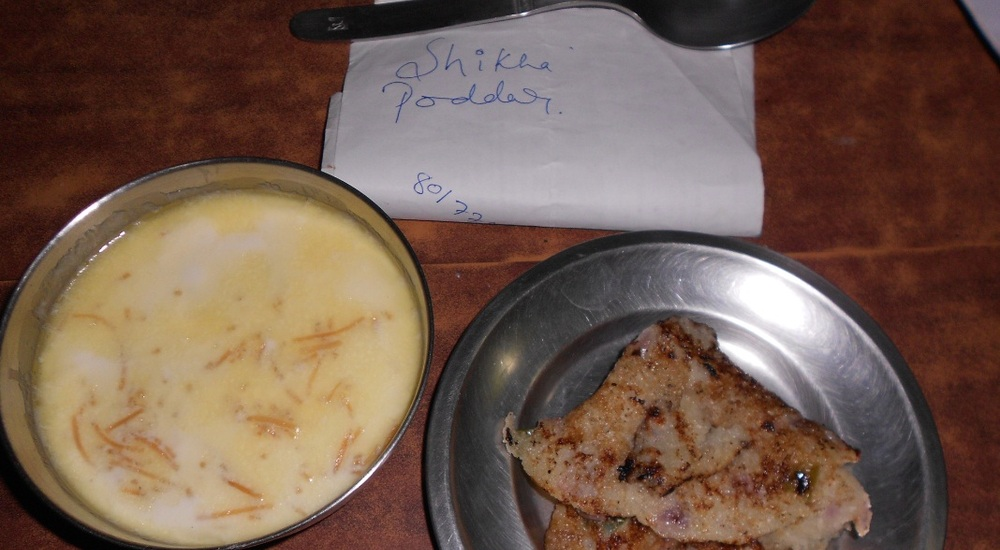 I will eat Milk Kheer with suji ka chilla .. made of home