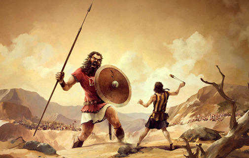 David defeating the giant Goliath in God's own time